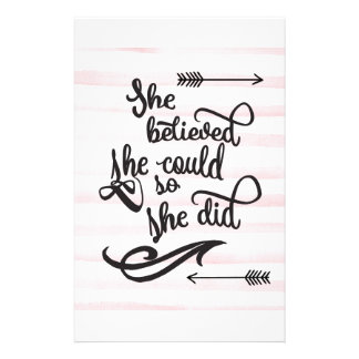 she believed she could so she did personalized stationery