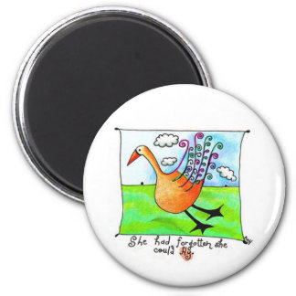 She could fly refrigerator magnet