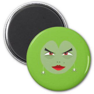 SHE-DEVIL FACE COSTUME 6 CM ROUND MAGNET