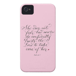 She does not fear inspirational verse typography Case-Mate iPhone 4 cases