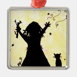 She Dreams of Magic in the Moon Silver-Colored Square Decoration
