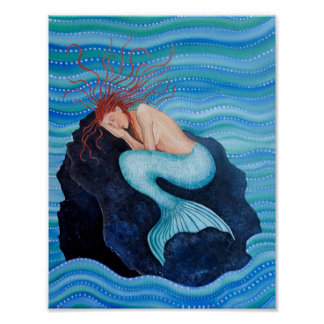 She Dreams Sea Dreams Mermaid Poster