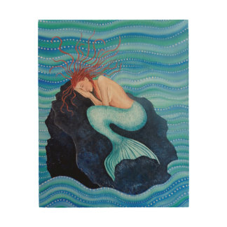 She Dreams Sea Dreams Mermaid Wood Wall Art