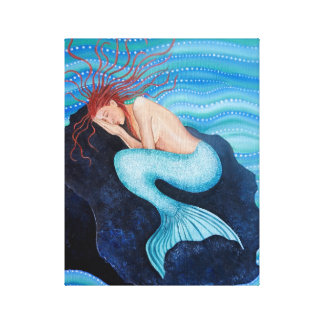 She Dreams Sea Dreams Mermaid Wrapped Canvas