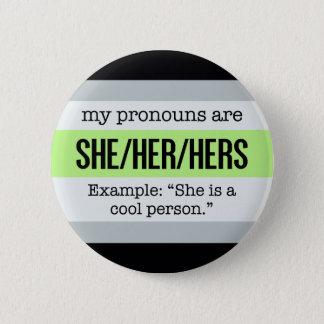 She/Her Pronouns –Agender Flag 6 Cm Round Badge