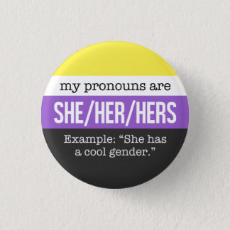 She/Her Pronouns –Nonbinary Flag 3 Cm Round Badge