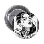 SHE IS ABOUT PINBACK BUTTON