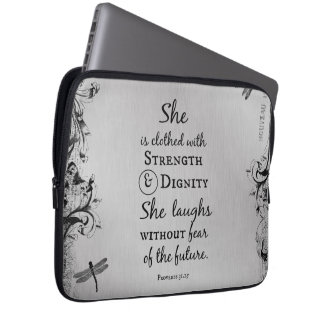 She is Clothed in Strength and Dignity Bible Verse Laptop Sleeve