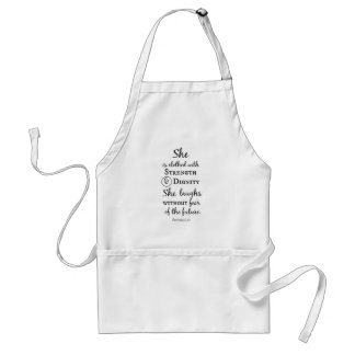 She is Clothed in Strength and Dignity Bible Verse Standard Apron