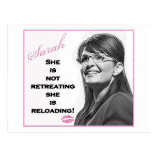 She is not retreating she is reloading postcards