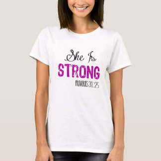 She Is Strong Purple Christian Women's Tshirt