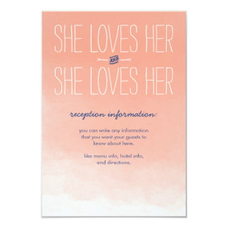 She Loves Her Lesbian Wedding Reception Card 9 Cm X 13 Cm Invitation Card