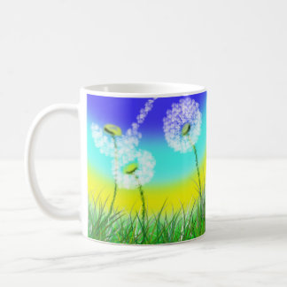 She Loves Me Not, Dandelion, White Coffee Mug