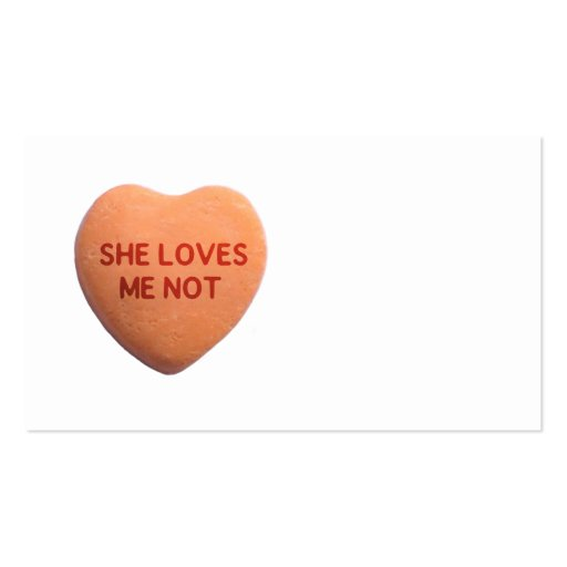 She Loves Me Not Orange Candy Heart Business Card Templates