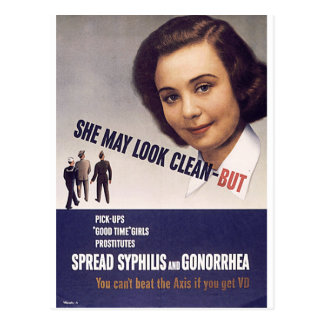 """""""She May Look Clean"""" WWII Warning Poster VD Postcard"""