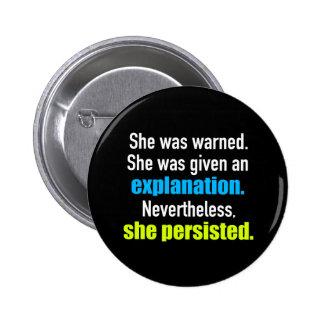 She Persisted Elizabeth Warren 6 Cm Round Badge