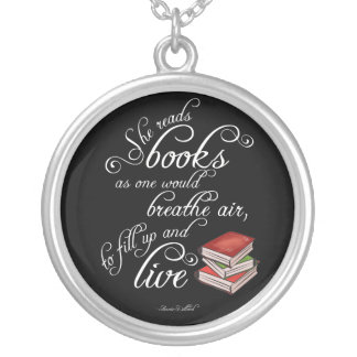 She Reads Books To Live Book Lover Necklace