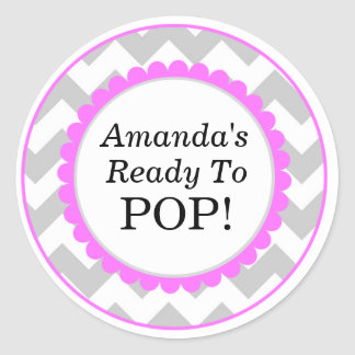 She s Ready to Pop Chevron Print Baby Shower Stickers
