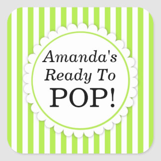 She s Ready to Pop Square sticker - Green Stripes Sticker