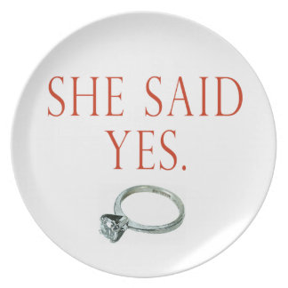 She Said Yes Groom Engagement Plate
