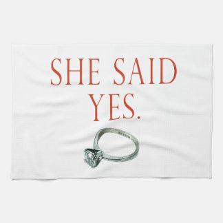 She Said Yes Groom Engagement Tea Towel