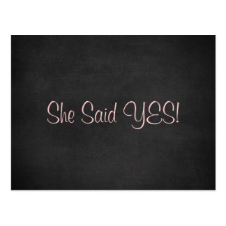 She Said Yes Save the Date Cards Postcard