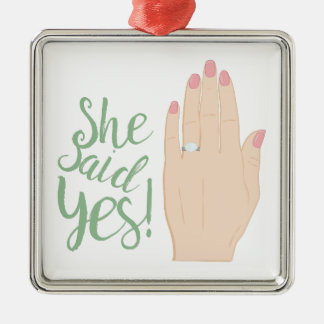She Said Yes Silver-Colored Square Decoration
