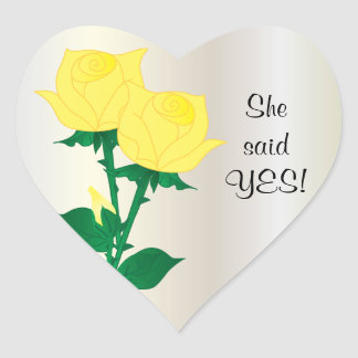 She said Yes | Yellow Roses Heart Sticker