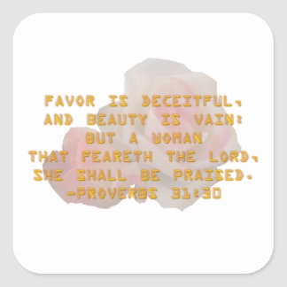 She Shall Be Praised Square Sticker
