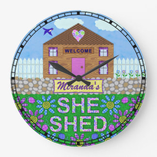 She Shed Woman Cave Custom Name Garden Hut Clock