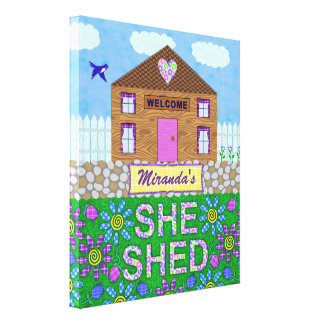 She Shed Woman Cave Garden Hut Personalized Name Stretched Canvas Prints