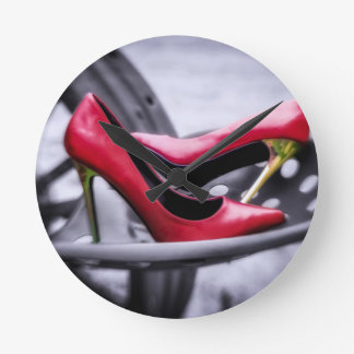 She Thinks my Tractors Sexy red high heels tractor Round Clock