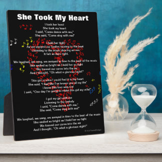 She Took My Heart Red Musical Notes Poem Plaque