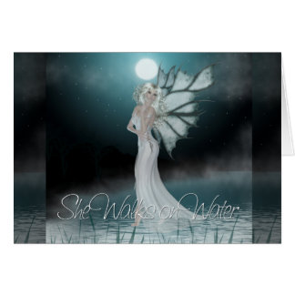 She Walks On Water Greeting Card