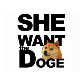 She want the Doge Postcard