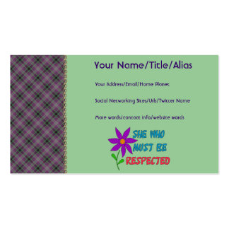 She Who Must Be Respected Pack Of Standard Business Cards