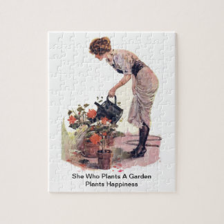 She Who Plants A Garden Plants Happiness Jigsaw Puzzle