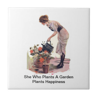 She Who Plants A Garden Plants Happiness Small Square Tile