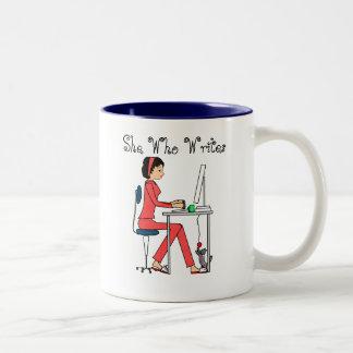 She Who Writes mug/red+brunette Two-Tone Coffee Mug