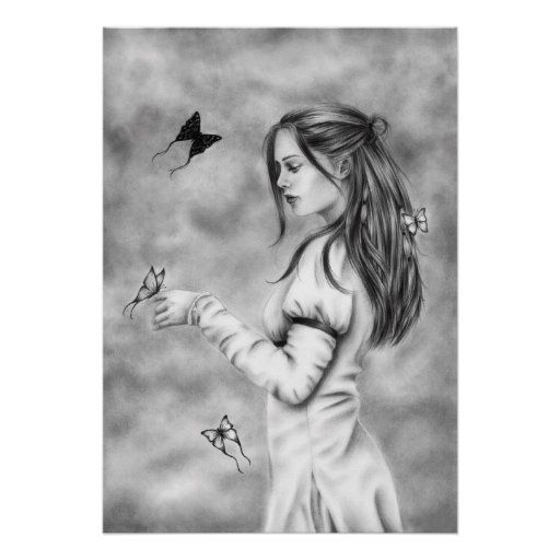 She with the butterflies Poster