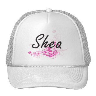 Shea Artistic Name Design with Flowers Cap