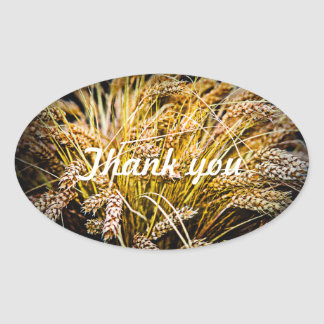 Sheaf Of Wheat - Thank You Oval Sticker