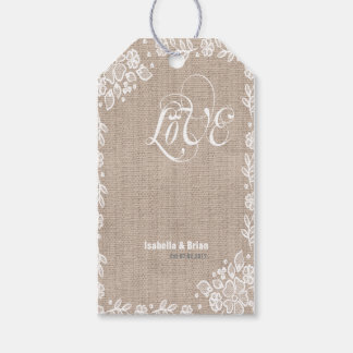 Shear Lace Burlap Rustic Country Western Wedding Gift Tags