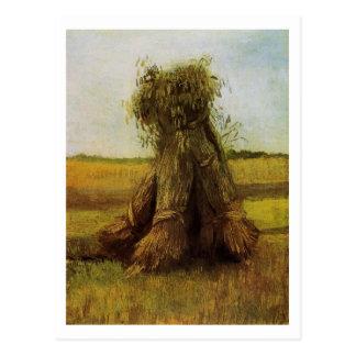 Sheaves of Wheat in Field, Van Gogh Fine Art Postcard