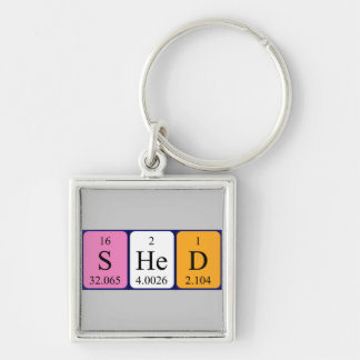 Shed periodic table keyring Silver-Colored square key ring