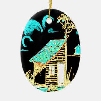 shed, tree, birdhouse, flowers christmas ornament