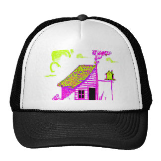shed, tree, birdhouse, flowers hats