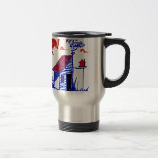shed, tree, birdhouse,flowers mug