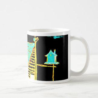 shed, tree, birdhouse, flowers mugs
