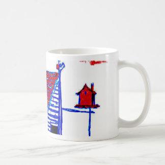 shed, tree, birdhouse,flowers coffee mug